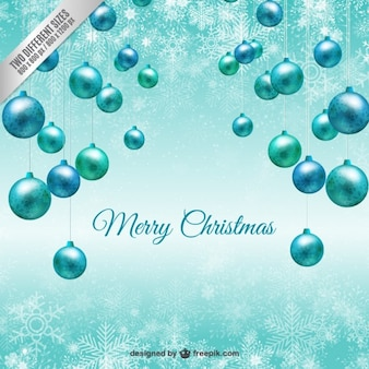 Turquoise christmas baubles background