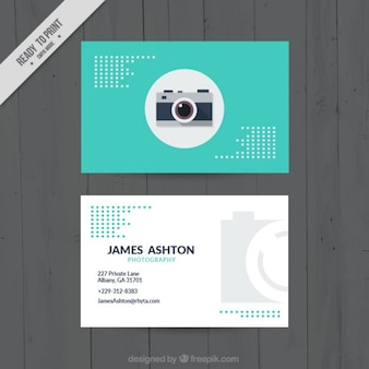 Turquoise color business card for photography