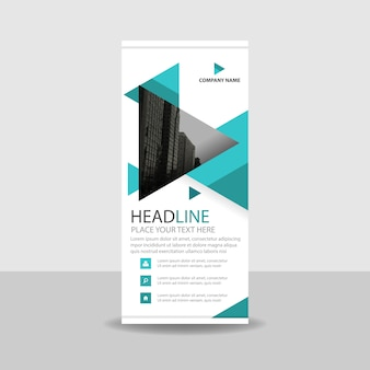 Turquoise commercial roll up banner