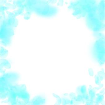 ターコイズブルーの花びらが落ちます。クールなロマンチックな花のビネット。白い正方形の背景に空飛ぶ花びら。愛、恋愛の概念。創造的な結婚式の招待状。