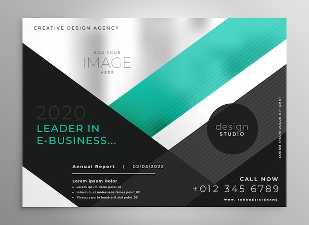Turquoise geometric business brochure presentation template