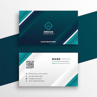 Turquoise geometric business card design
