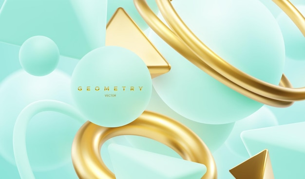 Turquoise and golden geometric shapes abstract background