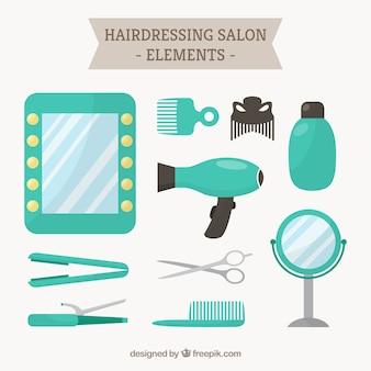 Turquoise hairdressing salon elements