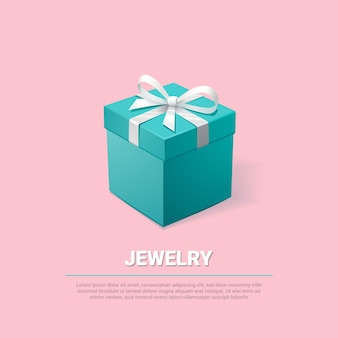 Turquoise jewelry box on pink background