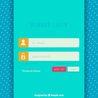 Turquoise login form template