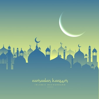 Turquoise mosque silhouettes