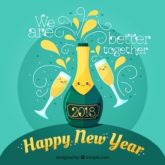 Turquoise new year background with champagne