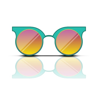 Turquoise orange sun glasses with reflection