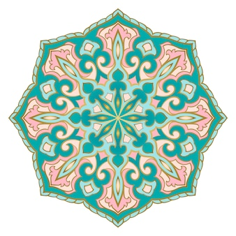 Turquoise and pink indian mandala.