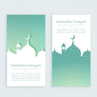 Turquoise ramadan festival vertical banners