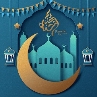 Turquoise ramadan kareem greeting card with paper art mosque and golden moon
