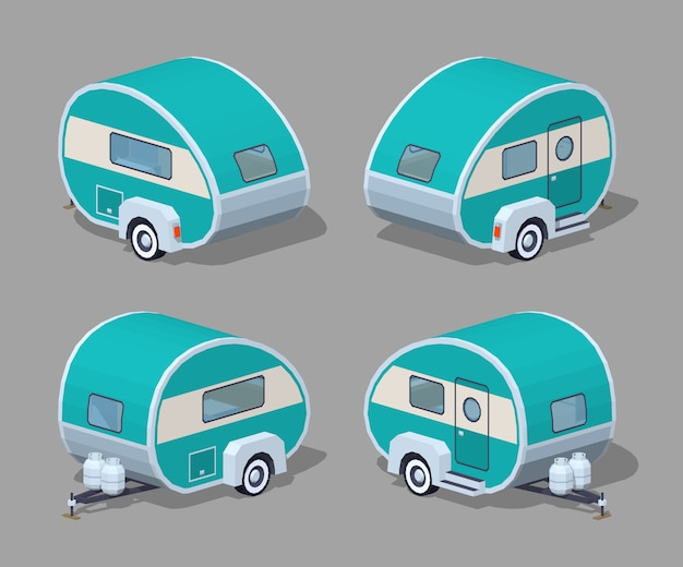 Turquoise retro 3d lowpoly isometric motor home