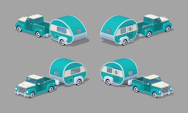Turquoise retro 3d lowpoly isometric pickup with motor home