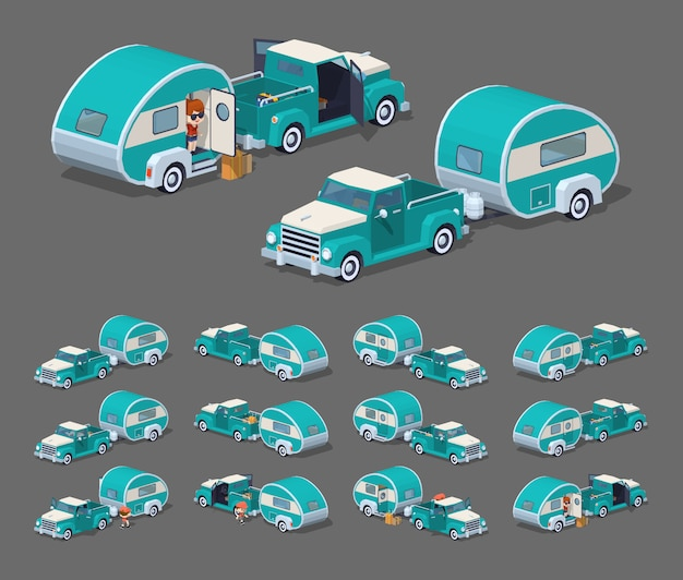 Turquoise retro pickup with rv camper. 3d lowpoly isometric vector illustration.