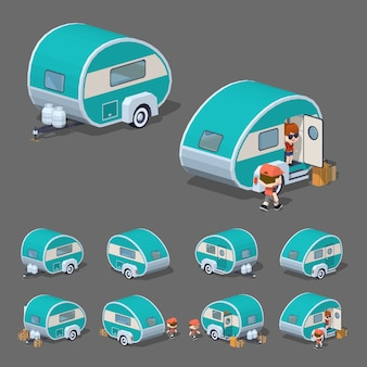 Turquoise retro rv camper. 3d lowpoly isometric vector illustration