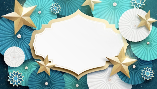 Turquoise round paper fan and star banner with copy space