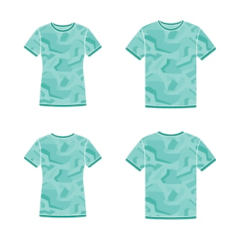 Turquoise short sleeve t-shirts templates with the camouflage pattern