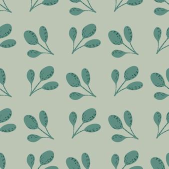 ターコイズのシンプルな枝のシルエットのシームレスな手描きのパターン。