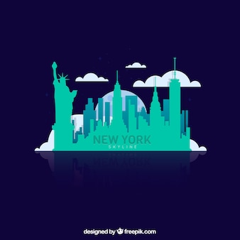 Turquoise skyline of new york