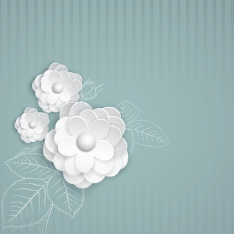 白い紙の花とターコイズブルーの縞模様の背景