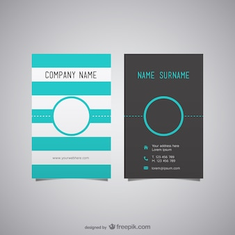 Turquoise stripes business card