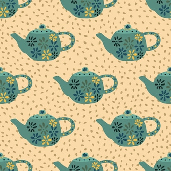 Turquoise teapots with flowers seamless pattern. hand drawn kitchen dishes on light orange background with dots.