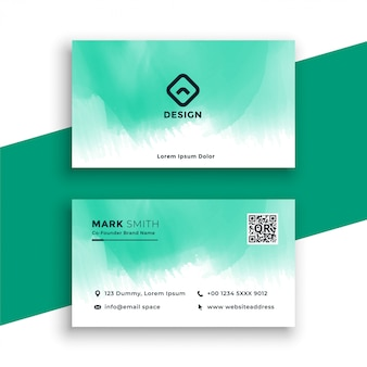 Turquoise watercolor business card design