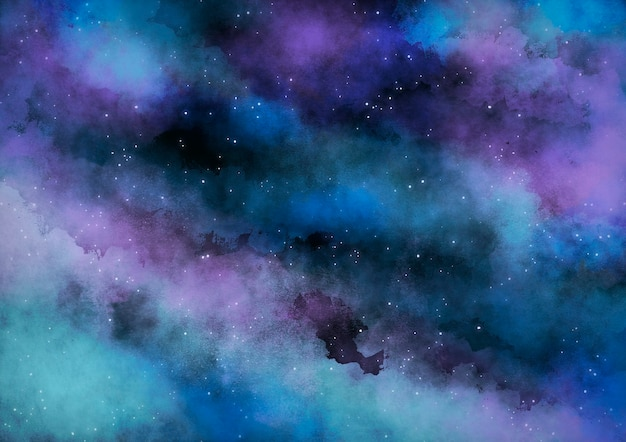 Turquoise watercolor galaxy nebula background