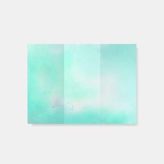 ターコイズブルーの水彩風パンフレットベクトル