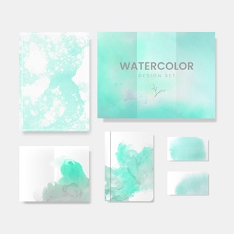 Turquoise watercolor style brochure vector