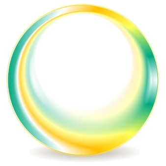 Turquoise and yellow blurred round logo design. vector background