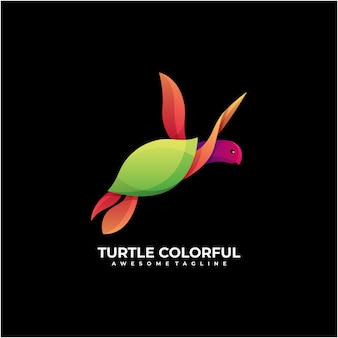 Turtle abstract logo design modern colorful