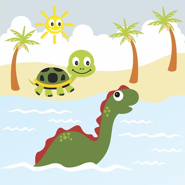 Черепаха и динозавр векторный мультфильм