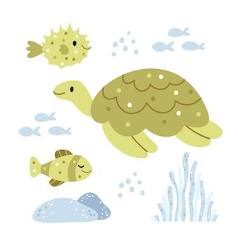 거북이와 성게 녹색 색상의 수중 세계 여름 그림