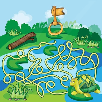 カメと金の鍵-就学前の子供のための迷宮ゲーム。ベクター