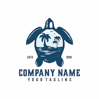 Turtle beach logo template vector