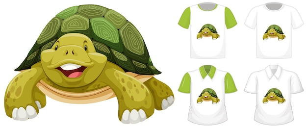 Turtle cartoon character with many types of shirts