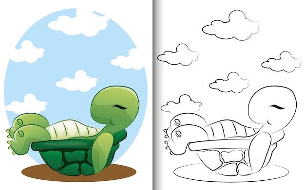 거북이 색칠 공부 페이지. 취학 전 교육 유치원과 어린이와 어린이를 위해