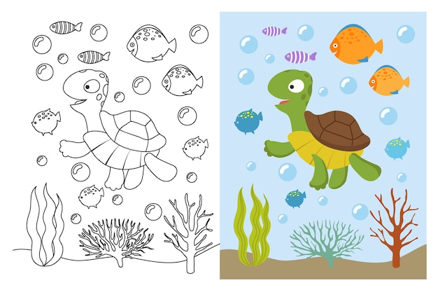 Turtle coloring pages. cartoon swimming sea animals underwater