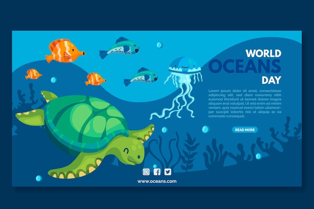 Turtle and fish oceans day banner