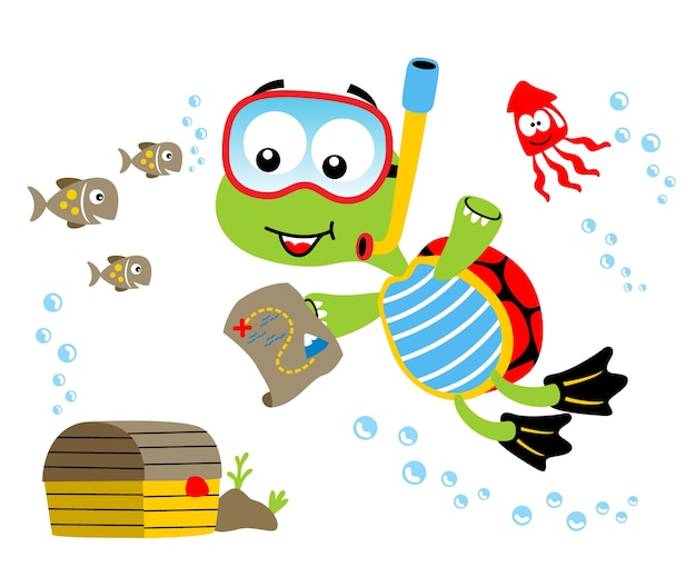 Turtle and friends with treasure, vector cartoon illustration