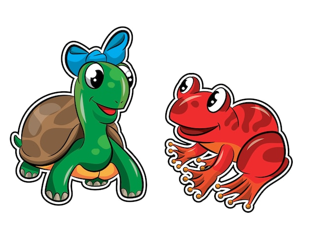 Turtle and happy frog