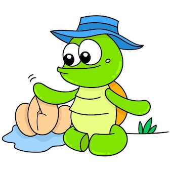 The turtle is caring for its eggs to hatch safely, doodle draw kawaii. vector illustration art
