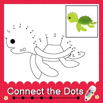 Turtle kids puzzle connect the dots worksheet for children counting numbers 1 to 20