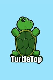 Turtle logo cartoon illustration