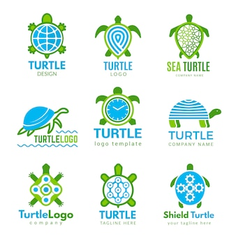Turtle logo. ocean wild animal stylized symbols tattoo s turtle business identity