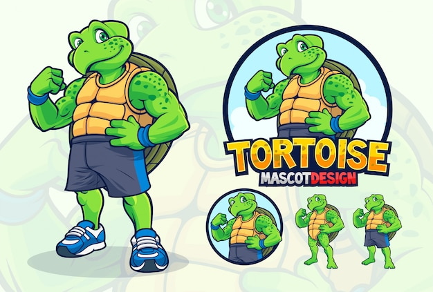 Turtle mascot design for companies or sport teams