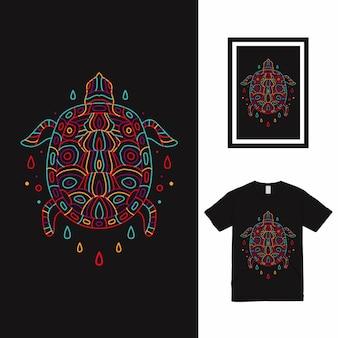 タートルモノラインパターンtシャツデザイン