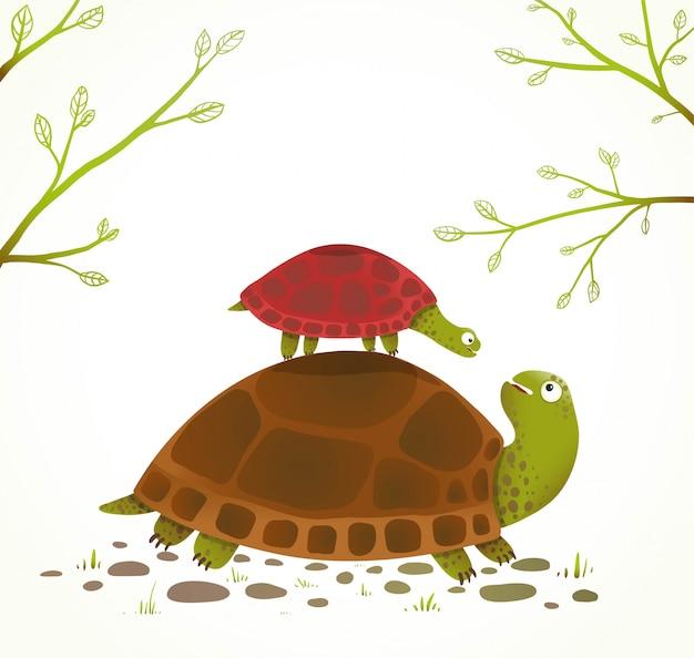 거북이 어머니와 아기 유치 동물 만화